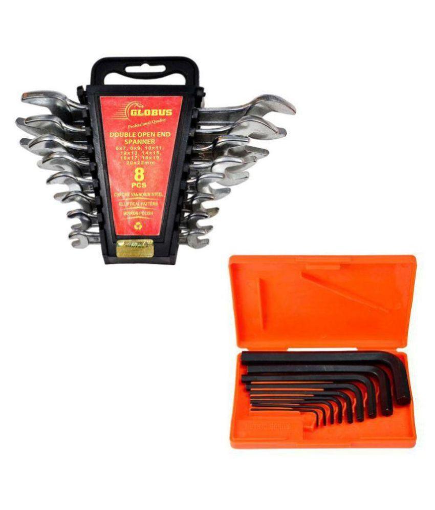GLOBUS 912 Hand Tool Set of DOE Set/8 PCS and Allen Key Set/9 PCS
