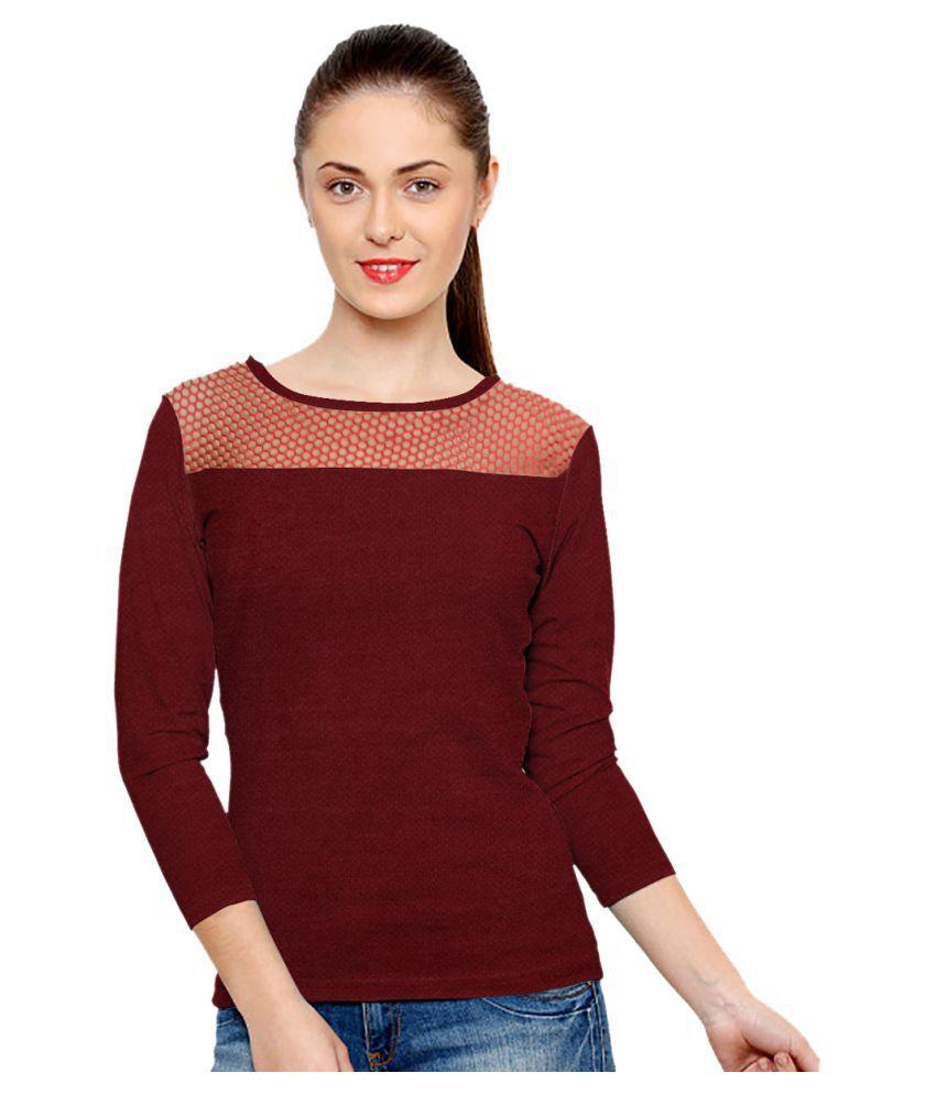 Poonam Textile Cotton Maroon T-Shirts