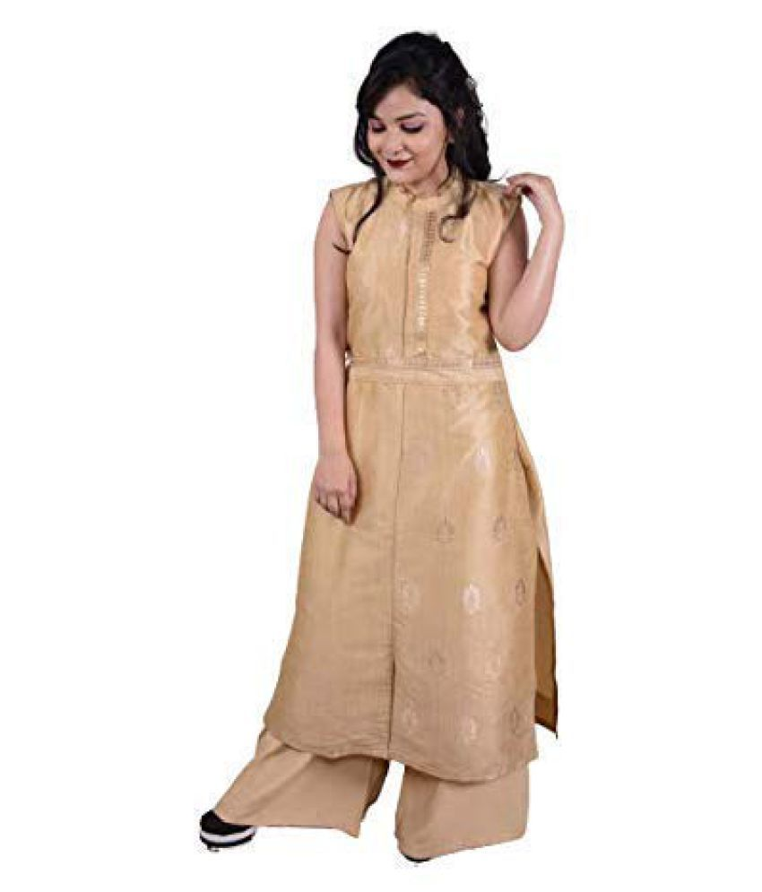 SK Creation Gold Silk Straight Kurti