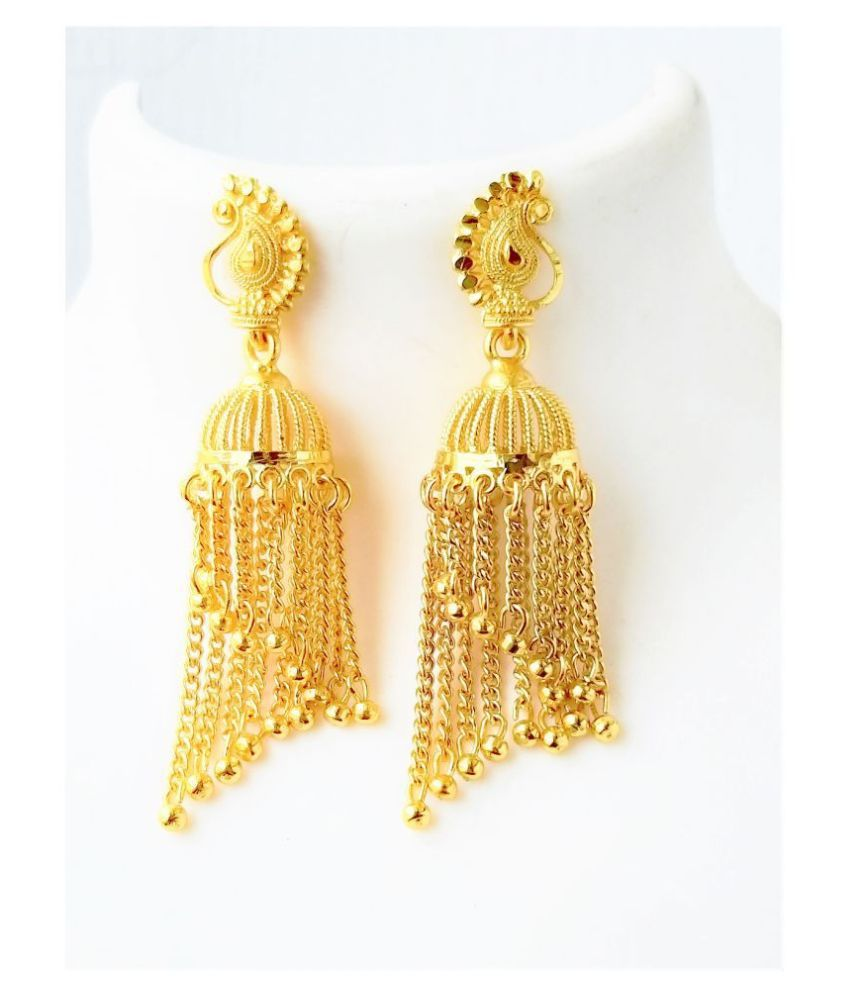 Darshini Designs one gram gold plated party wear jhumki earrings for women