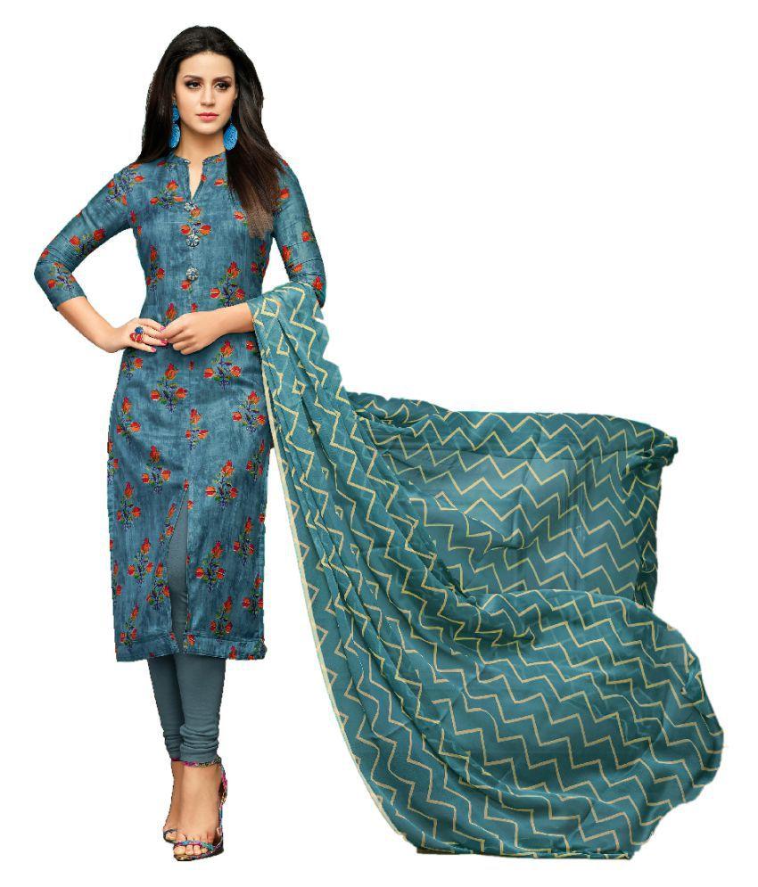 Maroosh Blue Cotton Silk Straight Semi-Stitched Suit