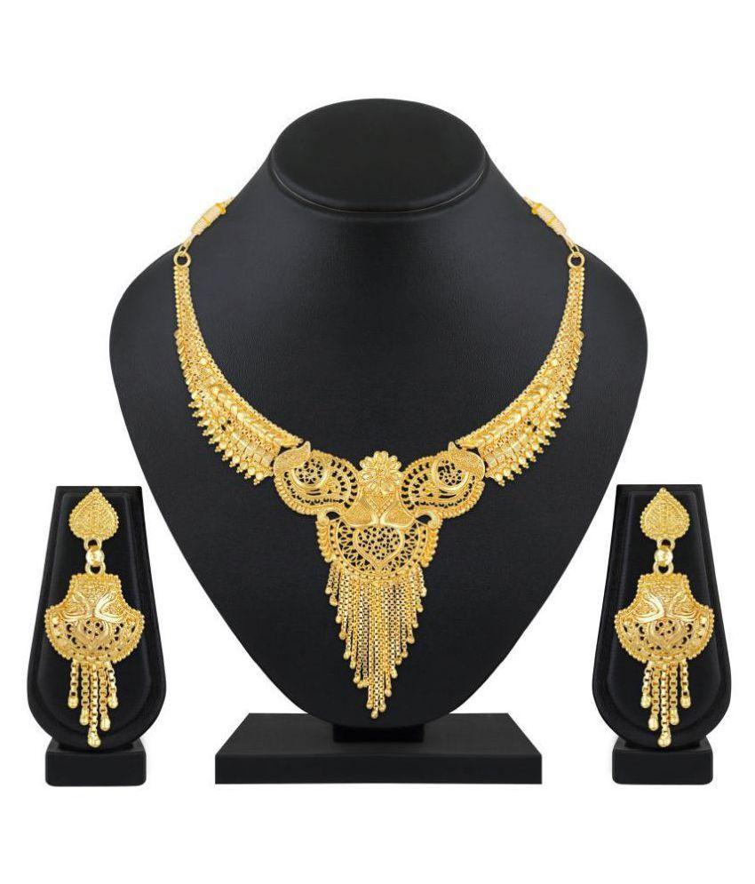 Asmitta Jewellery Golden Traditional Necklaces Set