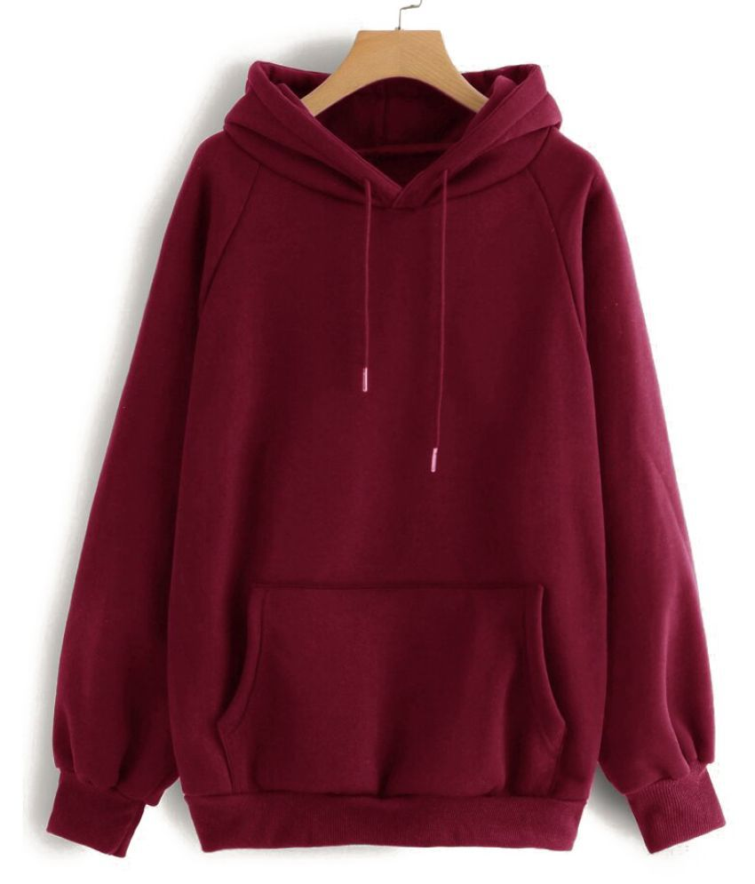 Cubex Cotton Fleece Maroon Hooded Sweatshirt
