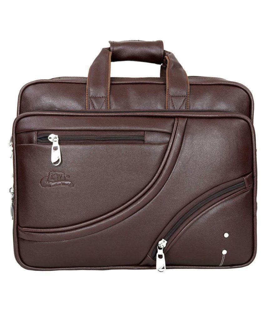 Leather World Laptop office bag Brown P.U. Office Bag