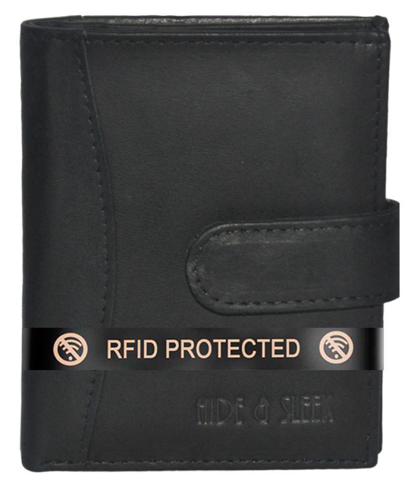 RFID Protected Genuine Black Leather 16 Slot Credit Card Holder