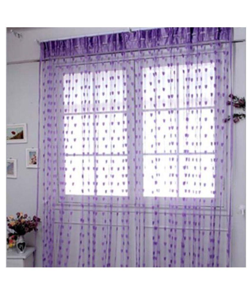 Adhvik Set of 2 Door Eyelet Polyester Curtains Purple