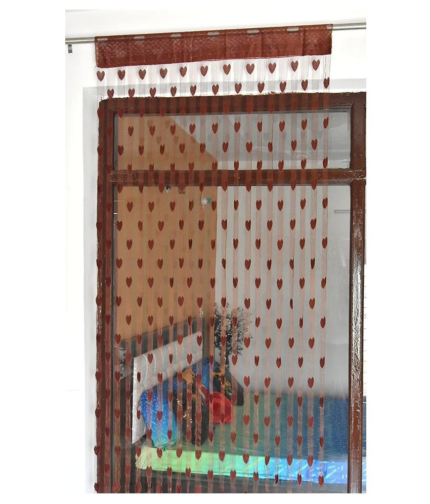 Adhvik Single Door Eyelet Polyester Curtains Brown