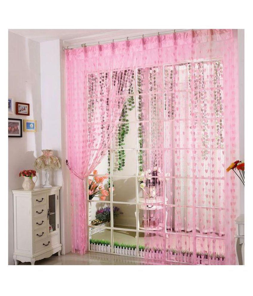 Adhvik Single Door Eyelet Polyester Curtains Pink