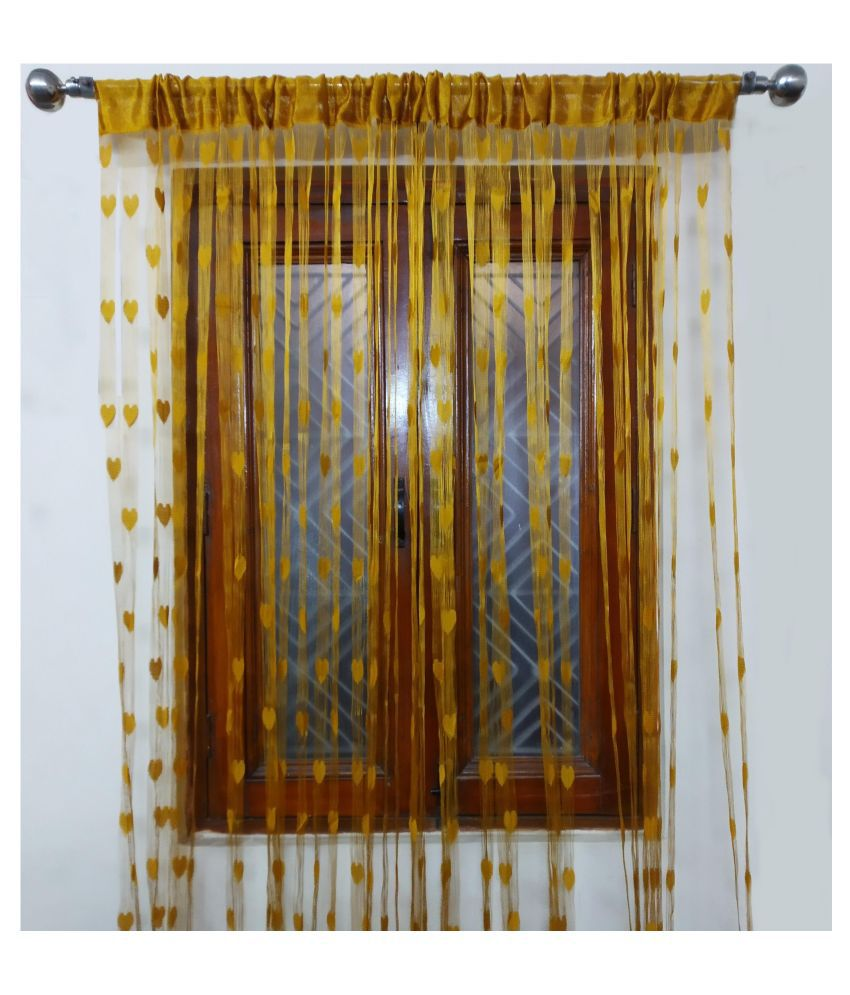 Adhvik Single Door Eyelet Polyester Curtains Gold