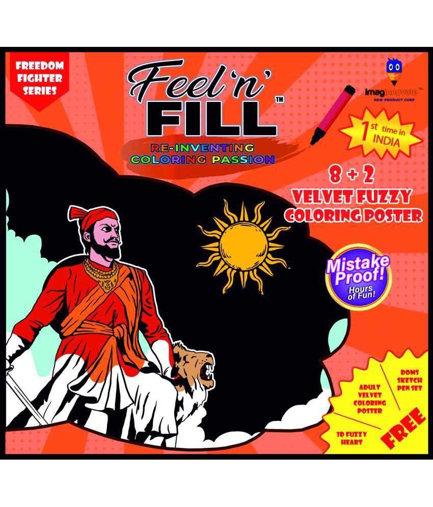 Feel'N'Fill Value Pack of Kids 10 (8+2) Fuzzy Velvet Freedom Fighters Coloring Posters with Their Stories
