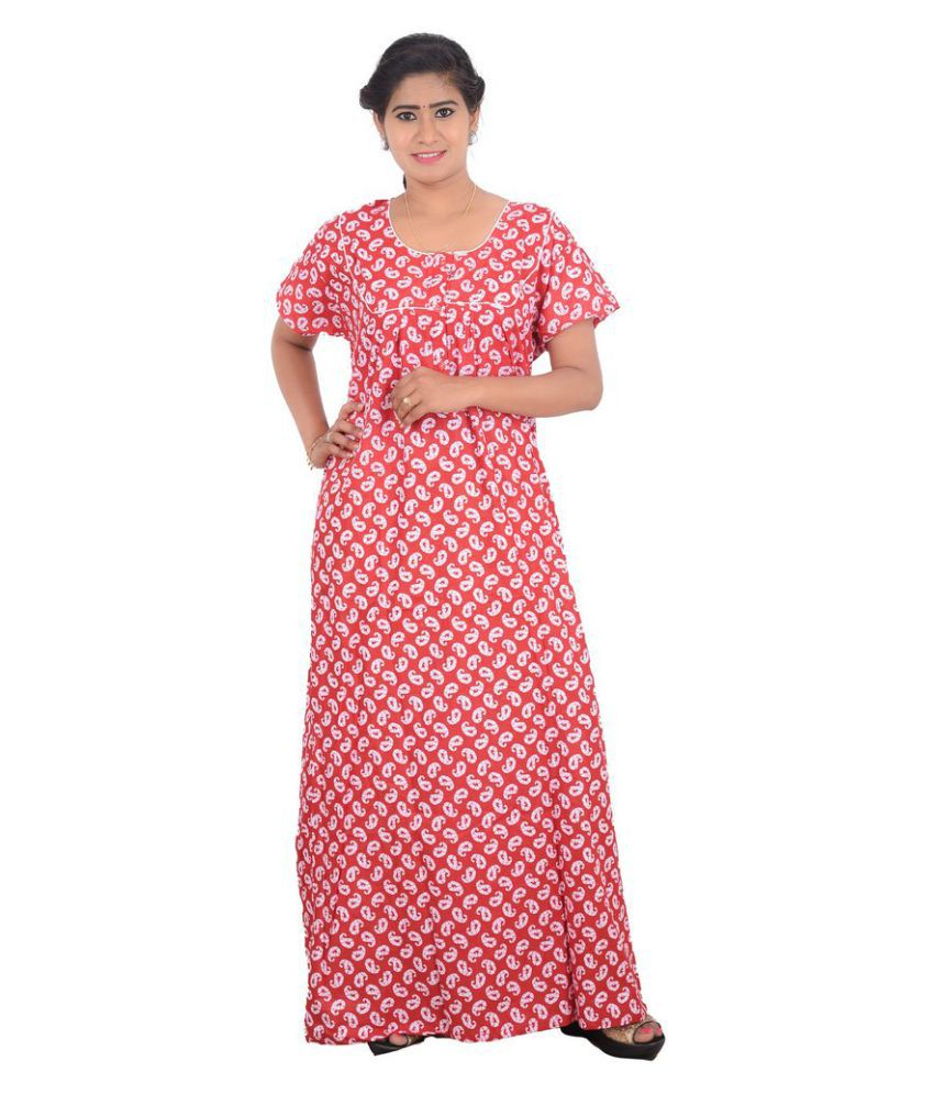 OSF Cotton Nighty & Night Gowns - Red