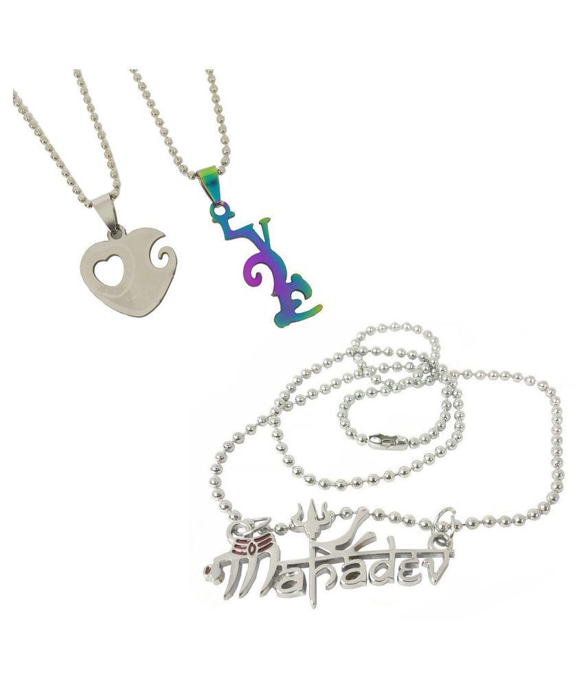 Stylewell CMB7039 Combo Of Metal Fancy & Stylish Lord Shiva Trishul Mahadev Bolenath Mahakal Locket And Valentine's Day I Love You Heart Romantic Love Couple Duo 2 In 1 Pendant Necklace With Chain