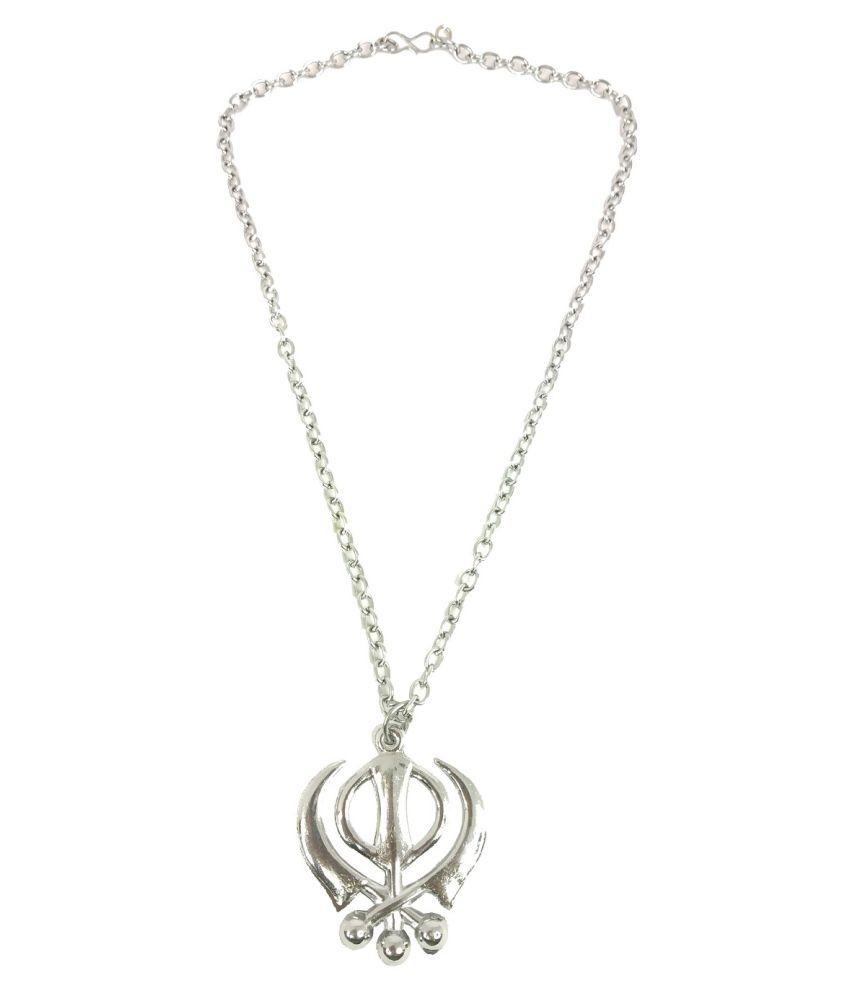 Stylewell Unisex Metal Fancy & Stylish Oxidize Silver Plated Chrome Finish Wahe Guru Ji Punjabi Khanda Sikh Sardar Khalsa Symbol Logo Pendant Locket Necklace With Chain Religious Spiritual Jewellery Set