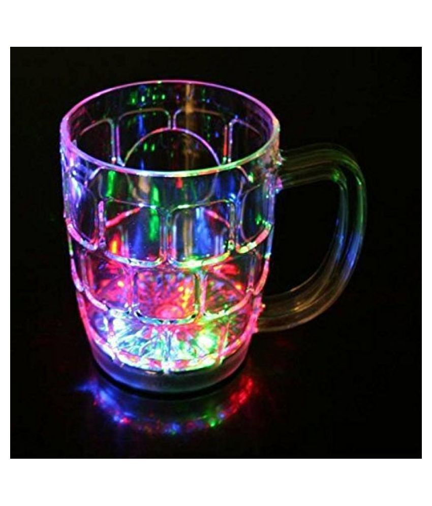 Amazing Light Changing Fibre Glass Beer Mug With Inductive Rainbow Color Disco Led 7 Colour Changing Liquid Activated Lights Multi