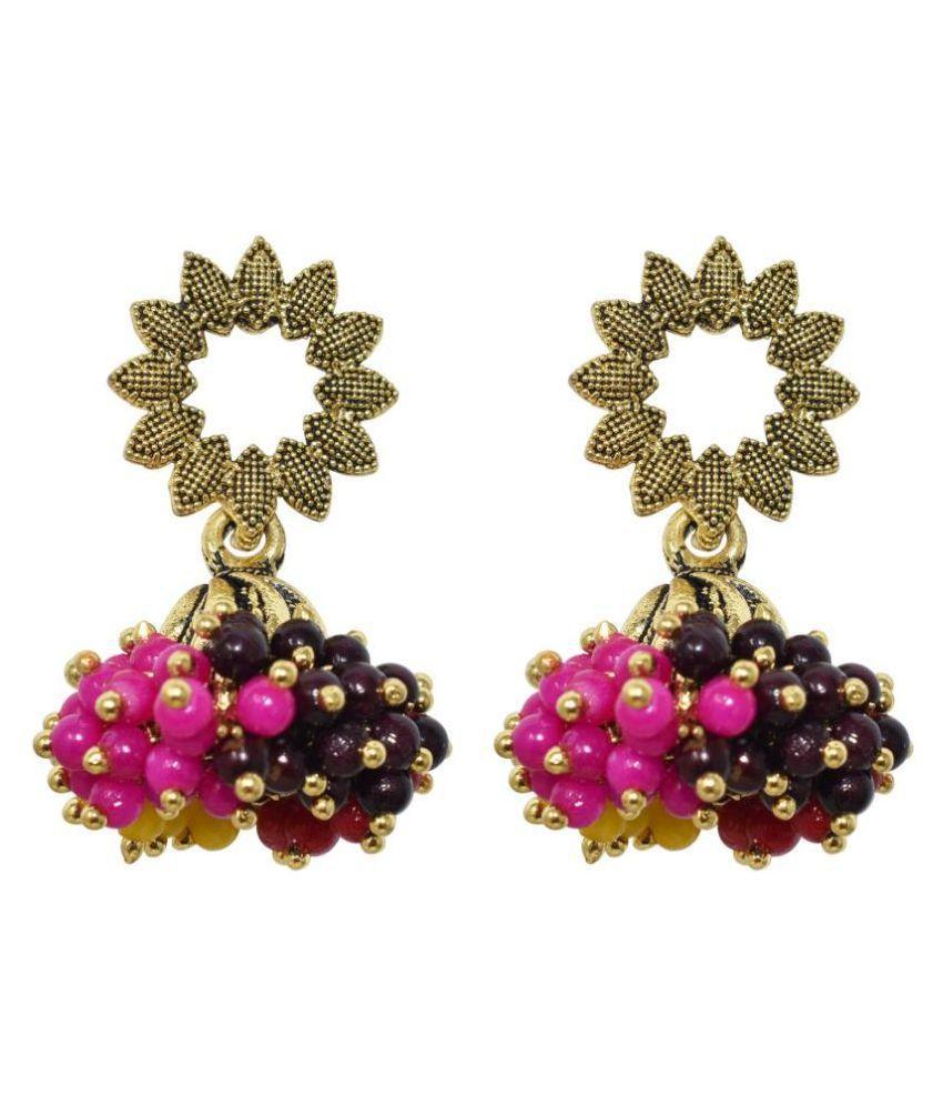 Jaishree Jewels Indian Ethnic Pearl Golden Hanging Jhumki Earring