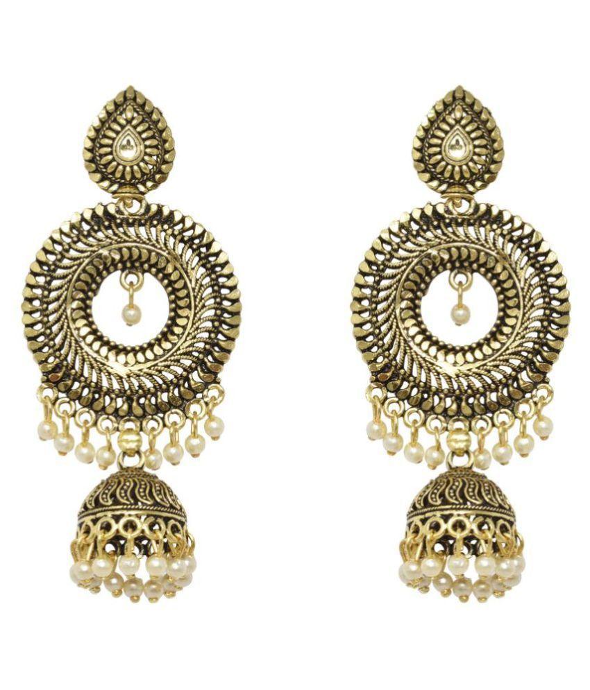 Jaishree Jewels Traditional Kundan Pearl Bollywood Style Jhumki Earring