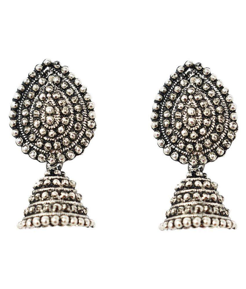 Jaishree Jewels drop shape Silver Oxidized Hanging Jhumki style earring
