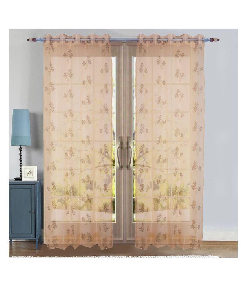 PardaOnline Single Door Semi-Transparent Eyelet Net Curtains Beige
