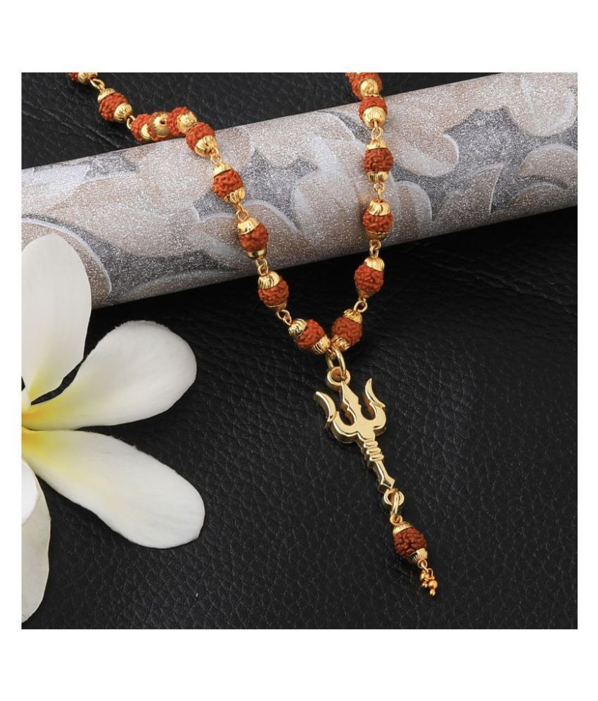 Loard Shiva Trishul Locket with Rudraksha Mala Necklace for Men and Women