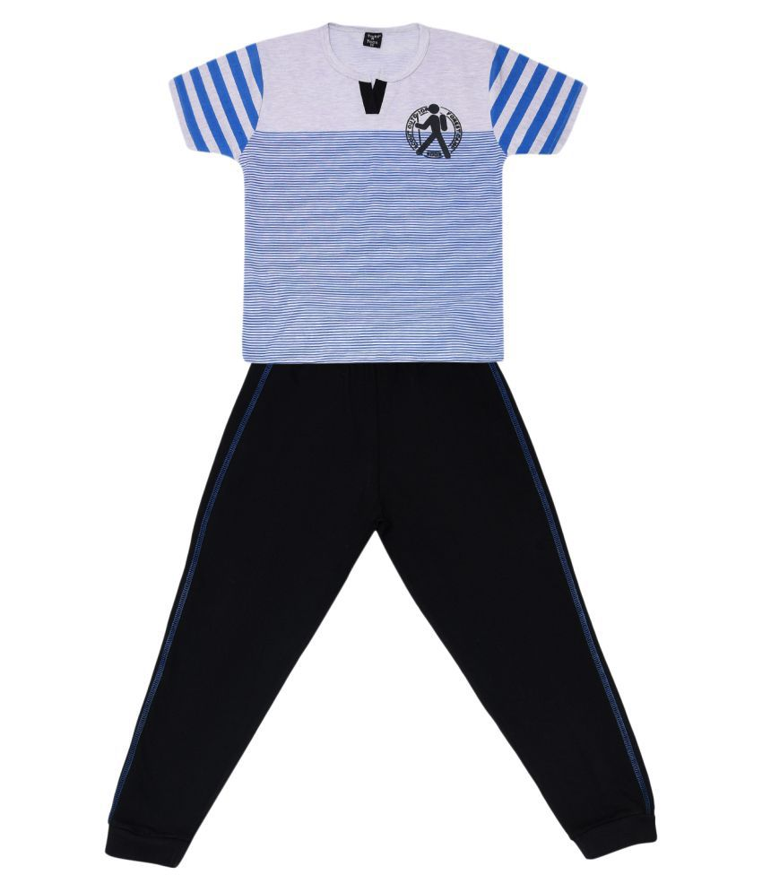 Todd N Teen Boys Cotton Pinted Tshirt, Casualwear, Clothing Set With Track Pant Full Pant Blue 5-6 years