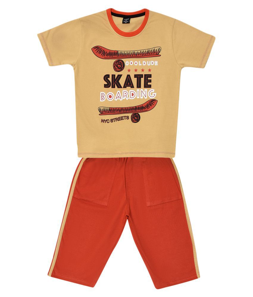 Todd N Teen Boys Cotton Pinted Tshirt, Casualwear, Clothing Set With Three Quarter Pant Brown 7-8 years