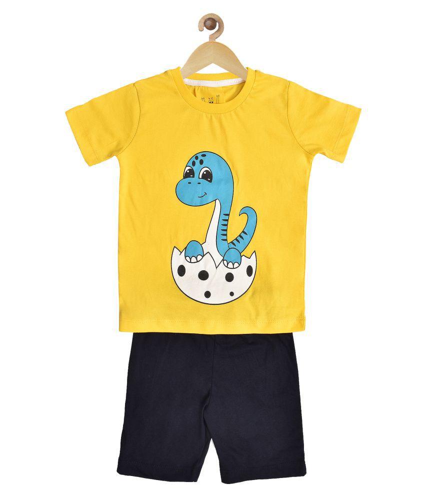 Wyld Sprog Boys Baby Dino Print Cotton Tshirt & Shorts set