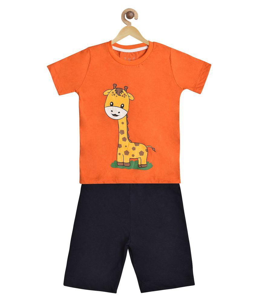 Wyld Sprog Boys Giraffe Print Cotton Tshirt & Shorts set