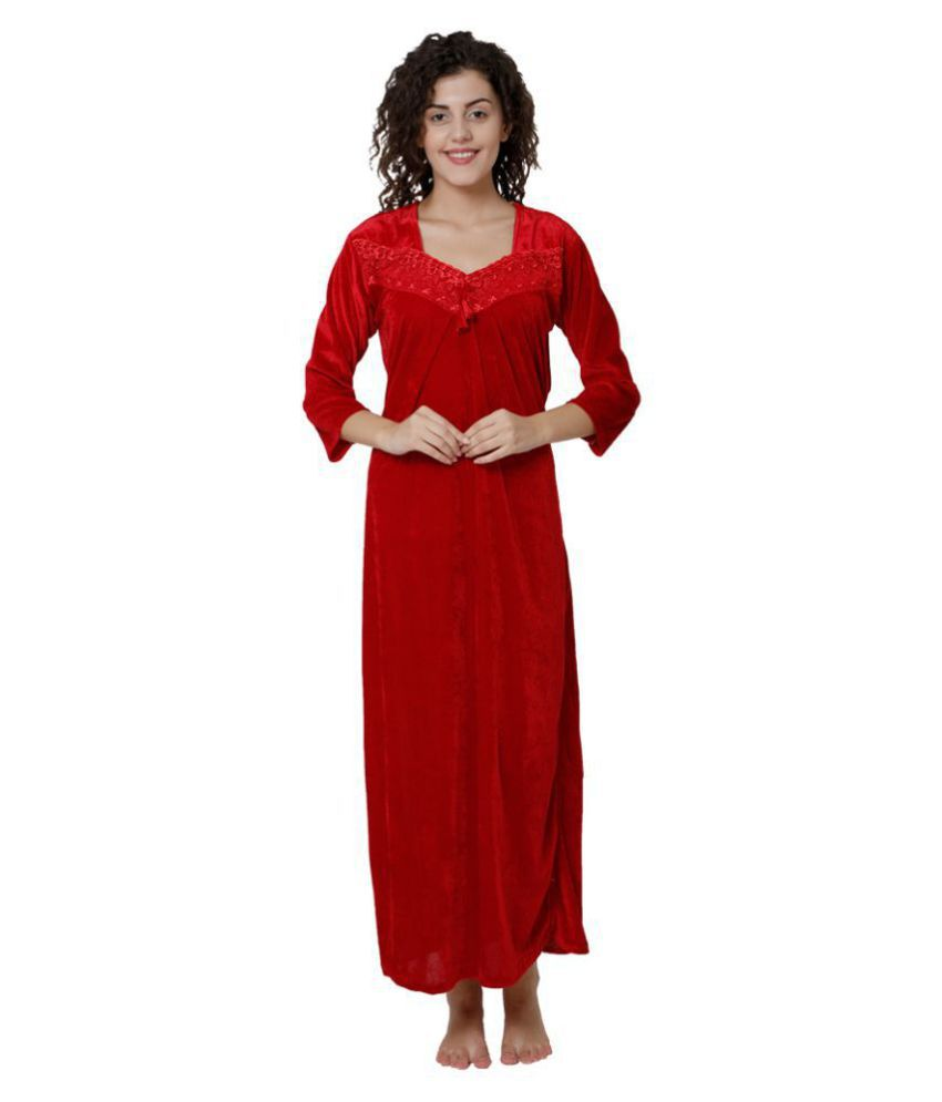 Gospel Velvet Night Dress - Red