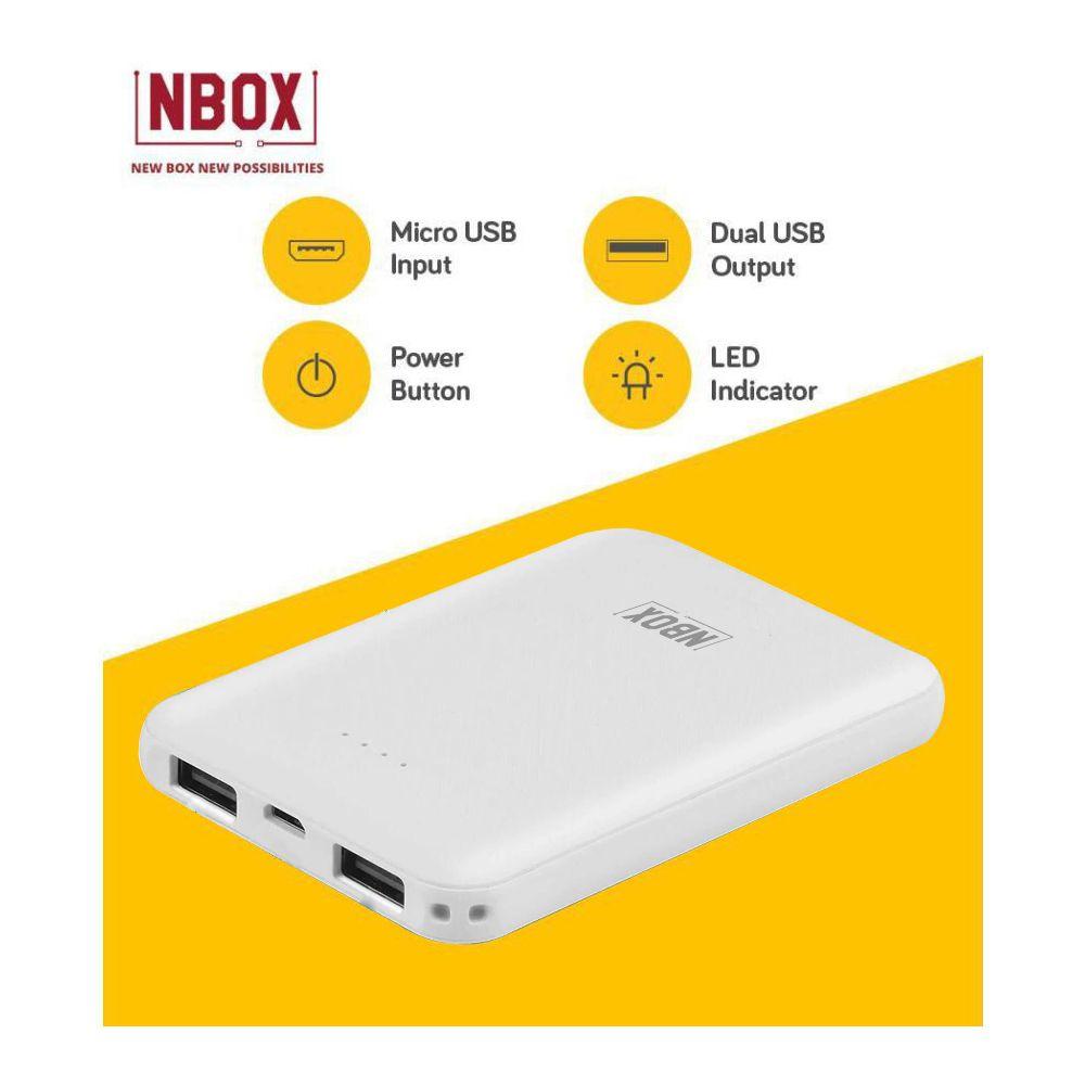 NBOX YB 5000 -mAh Li-Polymer Power Bank White