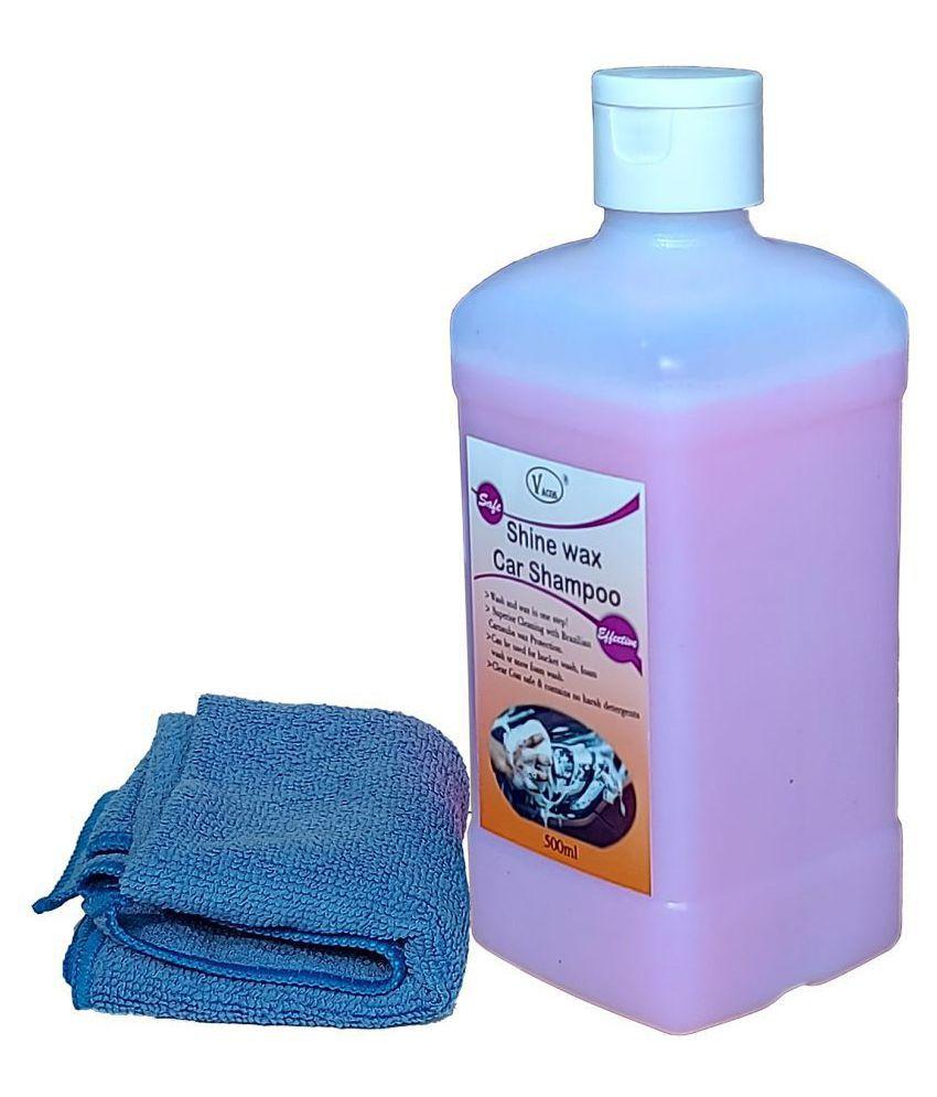 VACOS Shine Wax Car Shampoo 500ML with Microfibre. Clean Car with Carnauba Wax for Protection