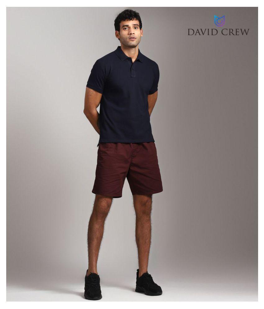 David Crew Cotton Blend Navy Plain Polo T Shirt