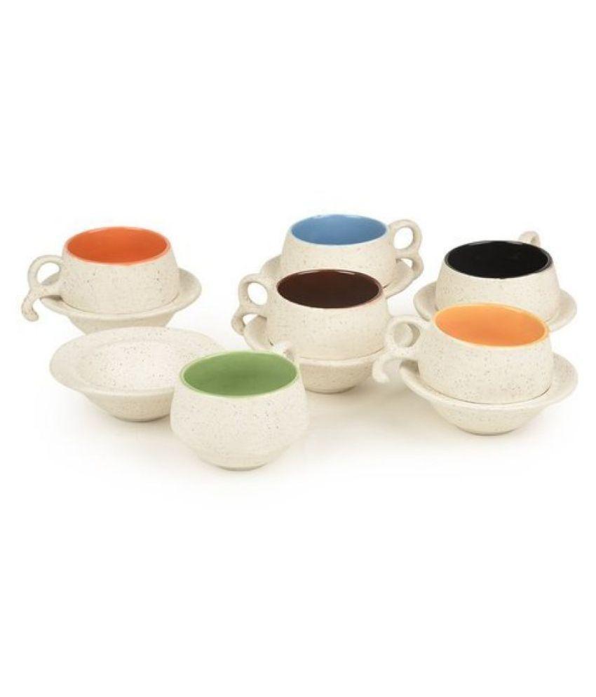 AASTHA IMAGINE MEDIA Ceramic na Tea Set 6 Pcs 180 ml