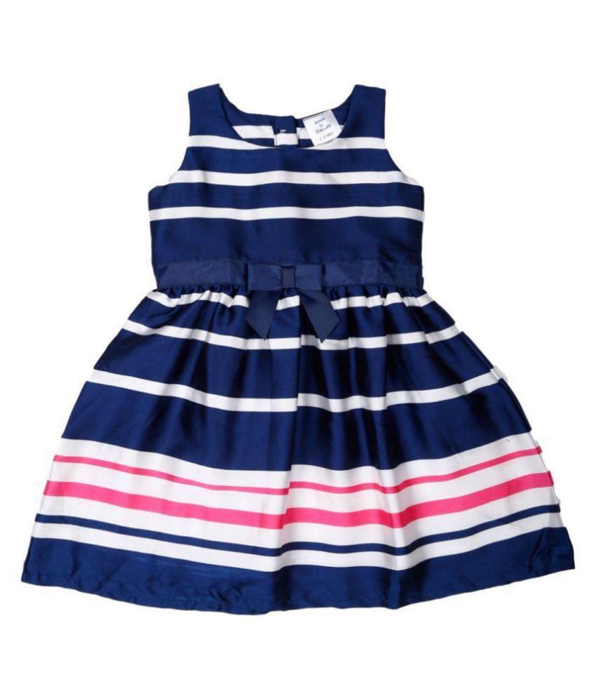 Doodle Navy Coloured Sleeveless Dress for Girls