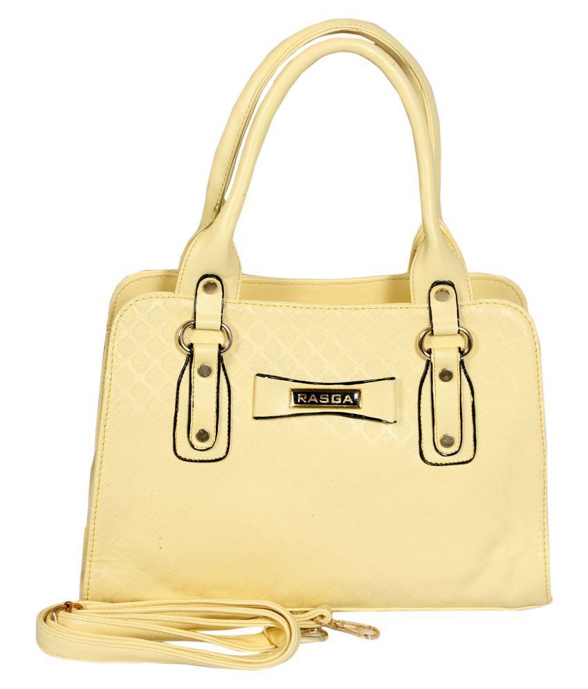 Rasga Yellow Artificial Leather Sling Bag