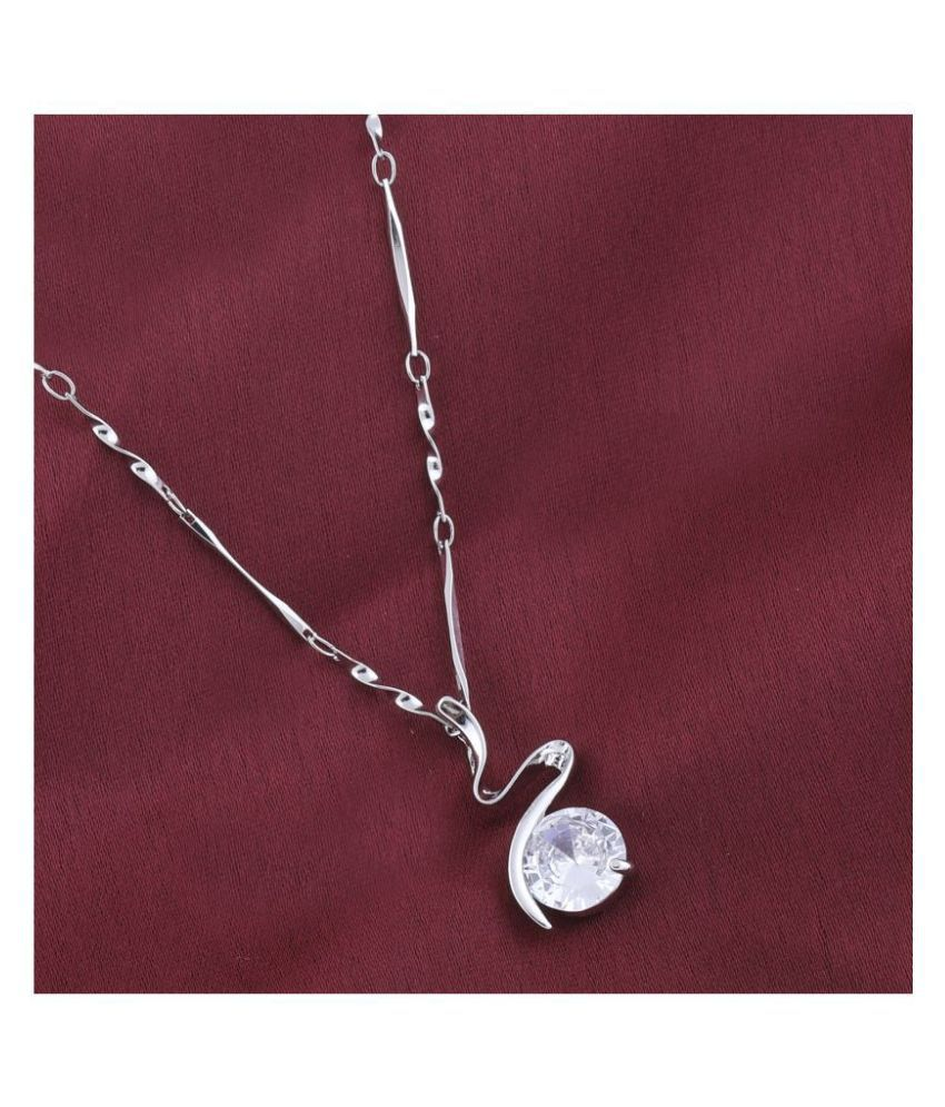 Silver Plated chain With Zig Zag Shape Solitaire Diamond Pendant  For Women