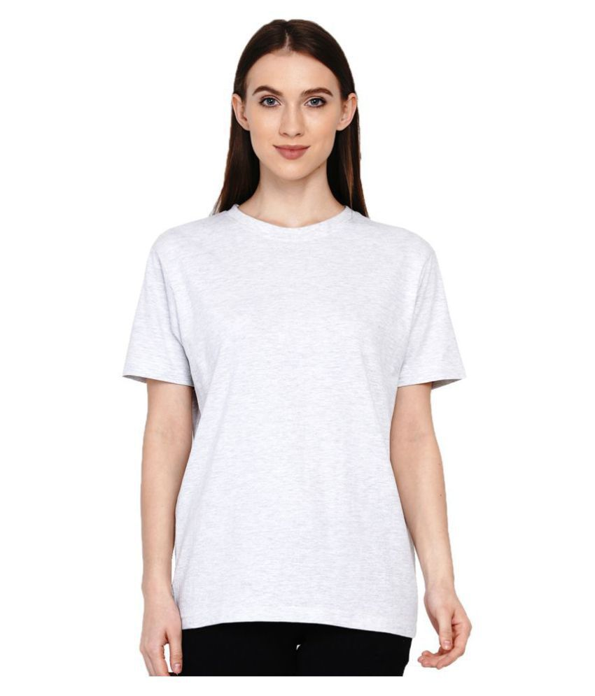 Knits and Weave Cotton White T-Shirts
