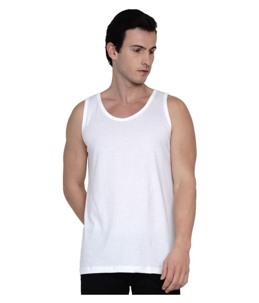 Knits and Weave White Sleeveless Vests Single