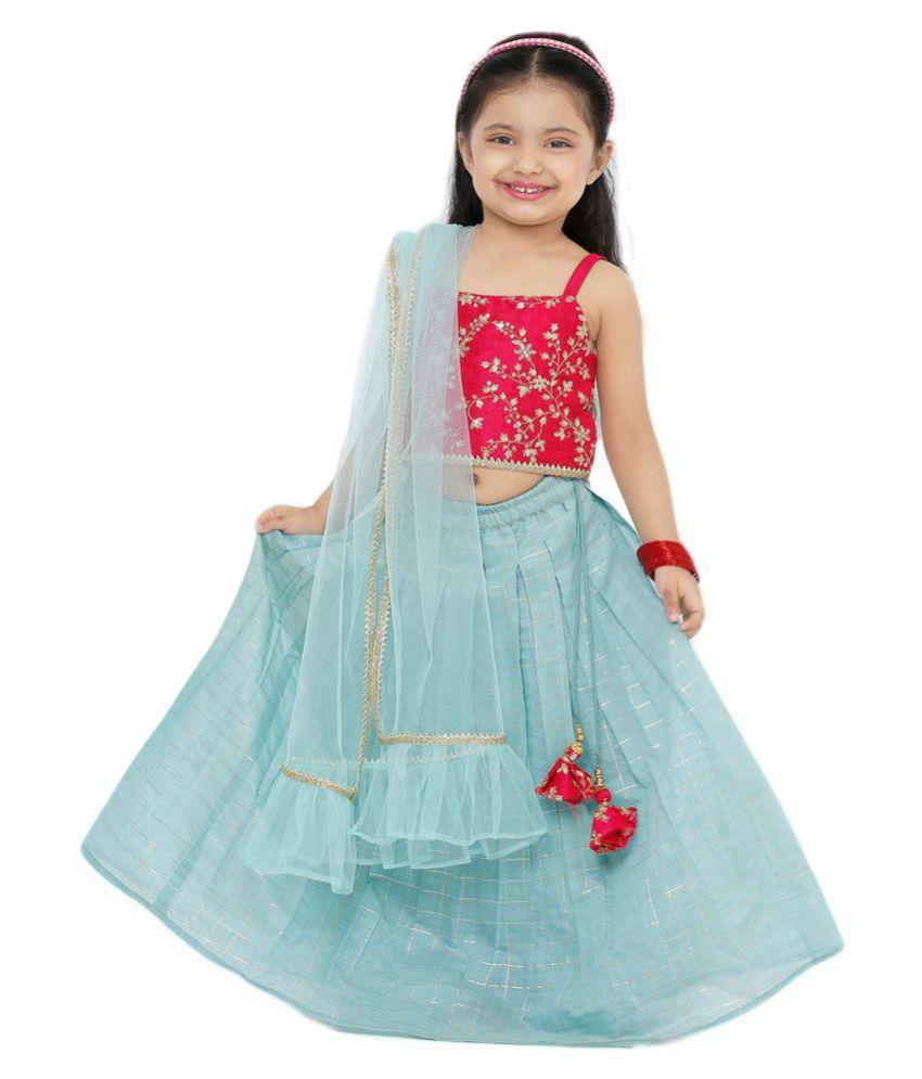 Salwar Studio Kid's Sky Blue Cotton Blend Readymade Lehenga choli
