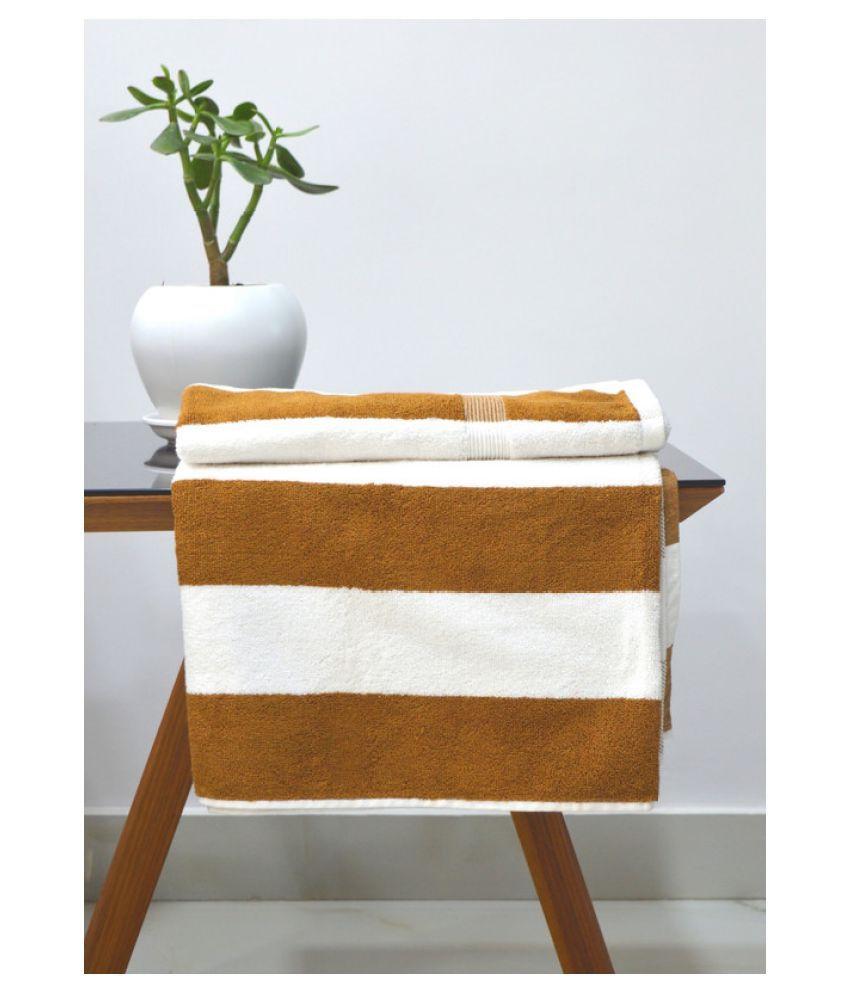 Tranquil Square Single Cotton Bath Towel Brown