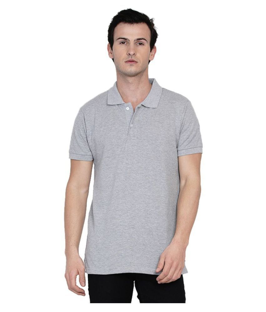 Knits and Weave 100 Percent Cotton Grey Plain Polo T Shirt