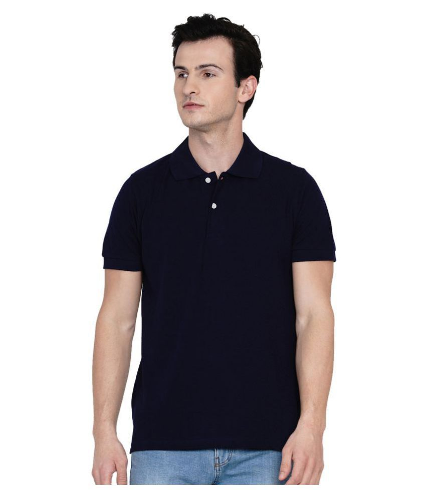 Knits and Weave 100 Percent Cotton Navy Plain Polo T Shirt