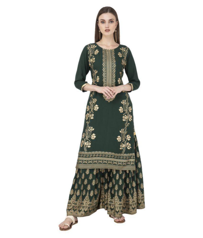 Krtiyaa Rayon Kurti With Sharara And Gharara - Stitched Suit