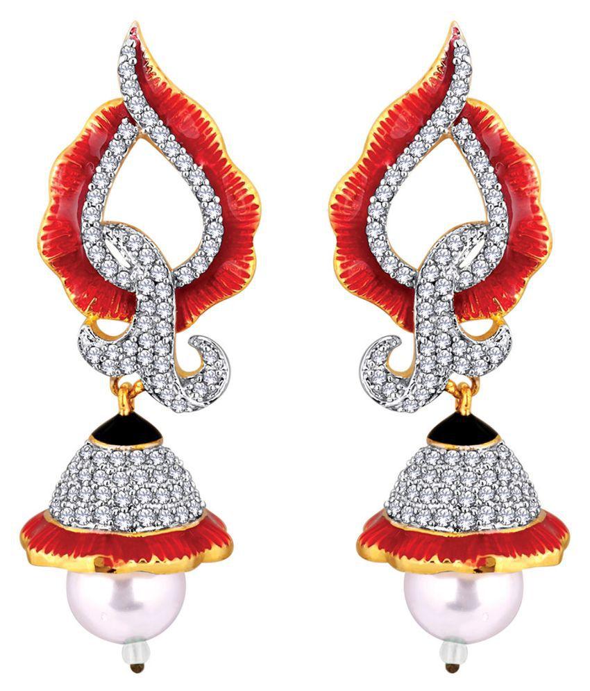 Spargz Bell Festive Wear Brass Gold Plated Cubic Zirconia & Pearl Dangle & Jhumki Earring For Women ALER_5098