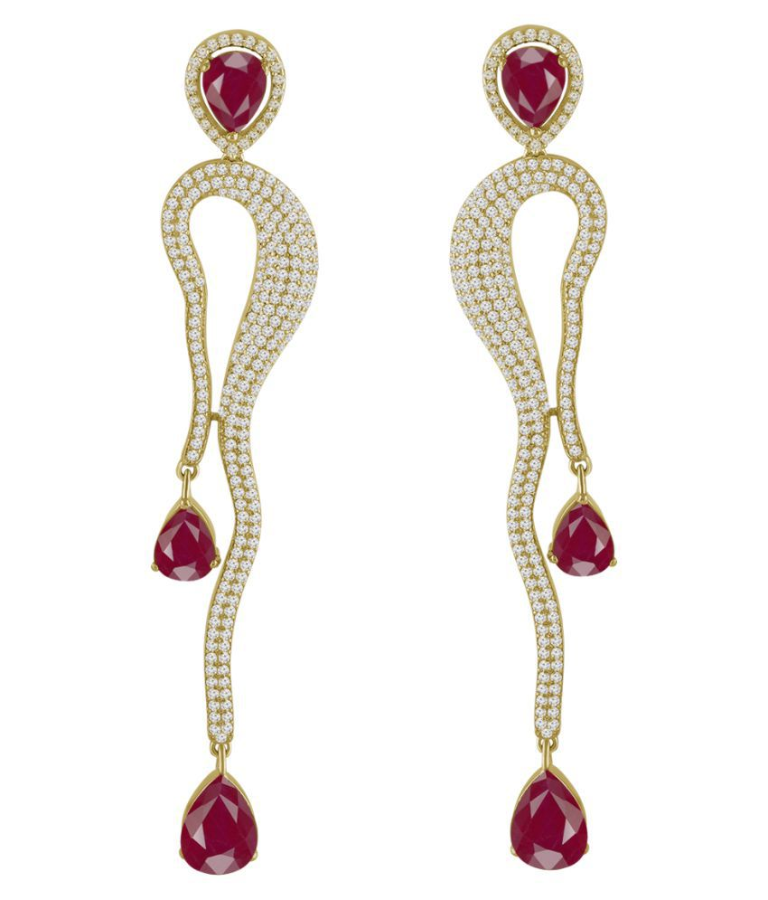 Spargz Designer Party Brass Gold Plated CZ Stone & Ruby Dangle Earring For Women TER_251