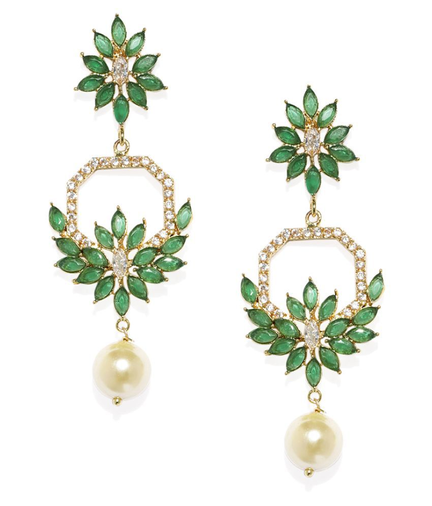 Spargz Green Floral Festive Wear Gold Plated Ruby & Pearl Dangle Earring For Women TER_097