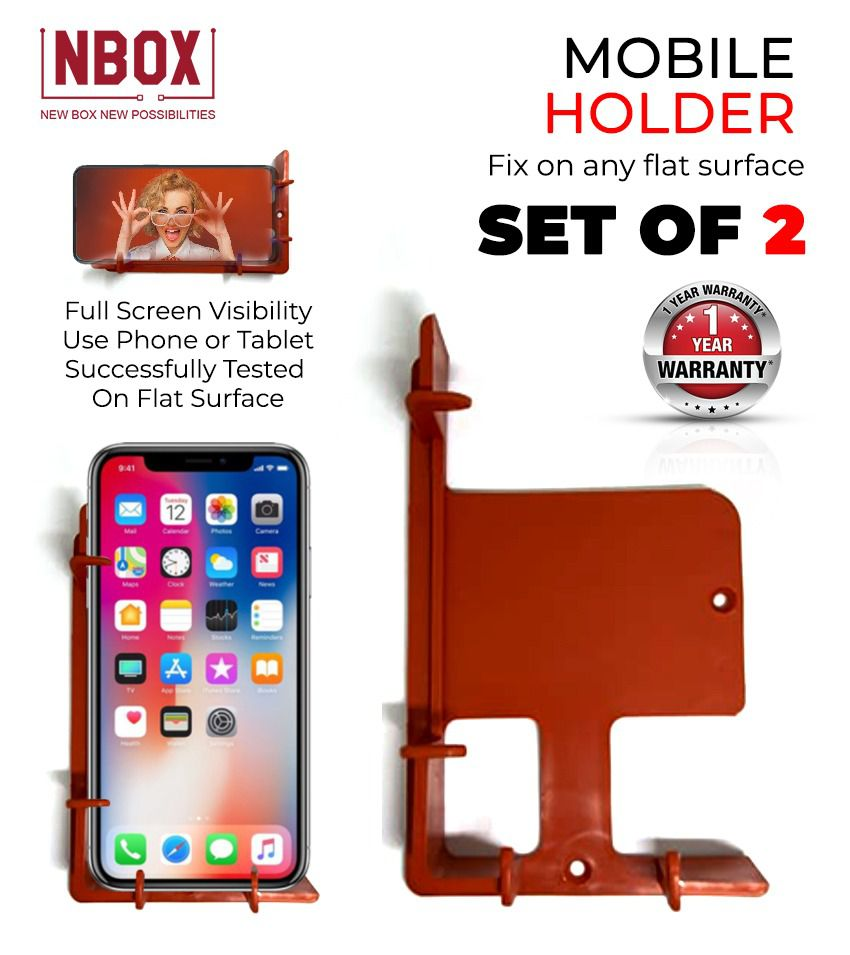 Wall Mount Phone Holder with Adhesive Strips, Charging Holder Compatible with all iPhone, Ipads Smartphone and Mini Tablet(Pack of 2)  (5.0) 4 Ratings 1 Review Have a question?