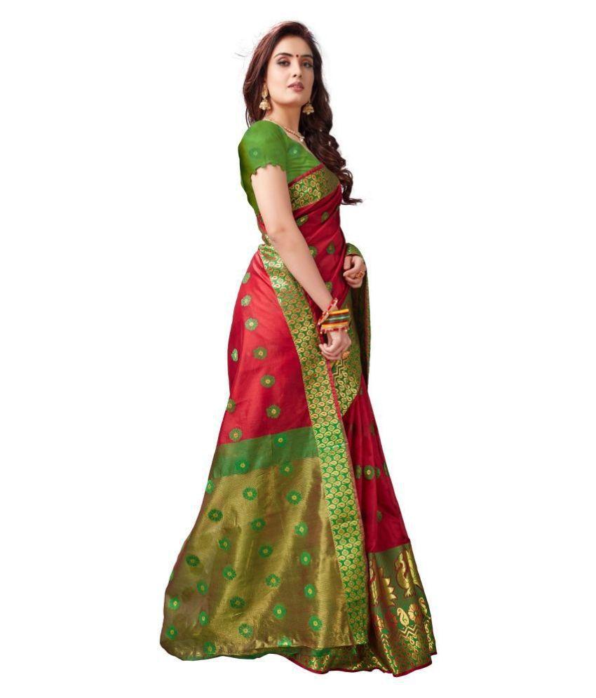 d'WiU Red Cotton Silk Saree