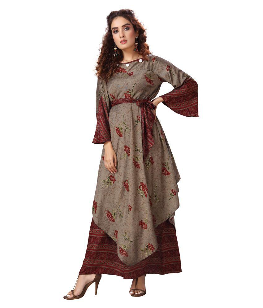 Madhuram Textiles Brown Rayon Anarkali Kurti