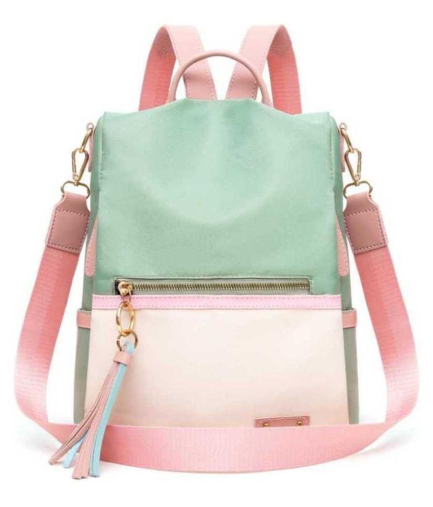 TRENDHUB Multi Color P.U. College Bag