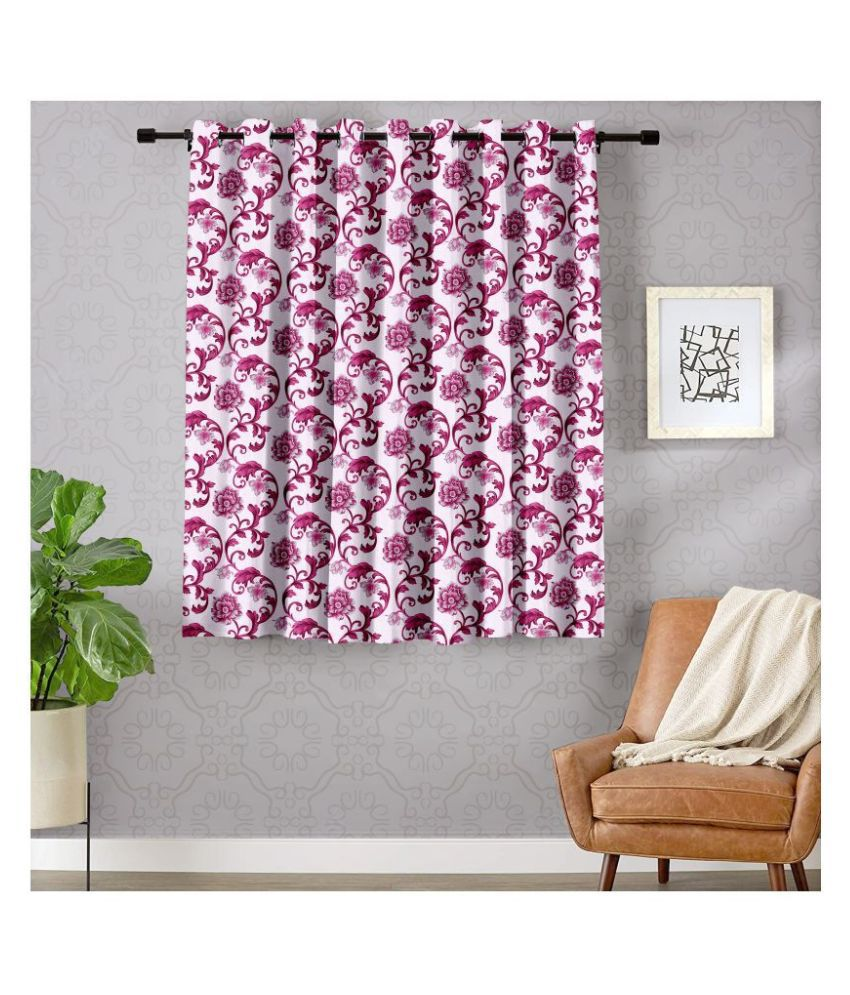 Hometique Single Window Semi-Transparent Eyelet Polyester Curtains Pink
